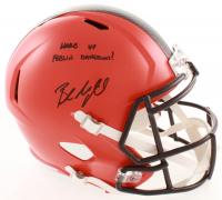 "Baker Mayfield Signed Browns Full-Size Speed Helmet Inscribed ""Woke Up Feelin Dangerous!"" (JSA COA) at PristineAuction.com"
