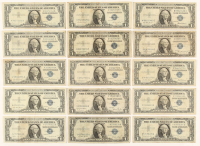 Lof of (15) $1 One Dollar Silver Certificate Bank Note at PristineAuction.com