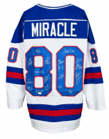 """Miracle on Ice"" Jersey Team-Signed by (18) with Mike Eruzione, Jim Craig, Craig Patrick, Dave Silk (JSA COA) at PristineAuction.com"