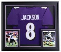 Lamar Jackson Signed Ravens 31x36 Custom Framed Jersey Display (JSA COA) at PristineAuction.com