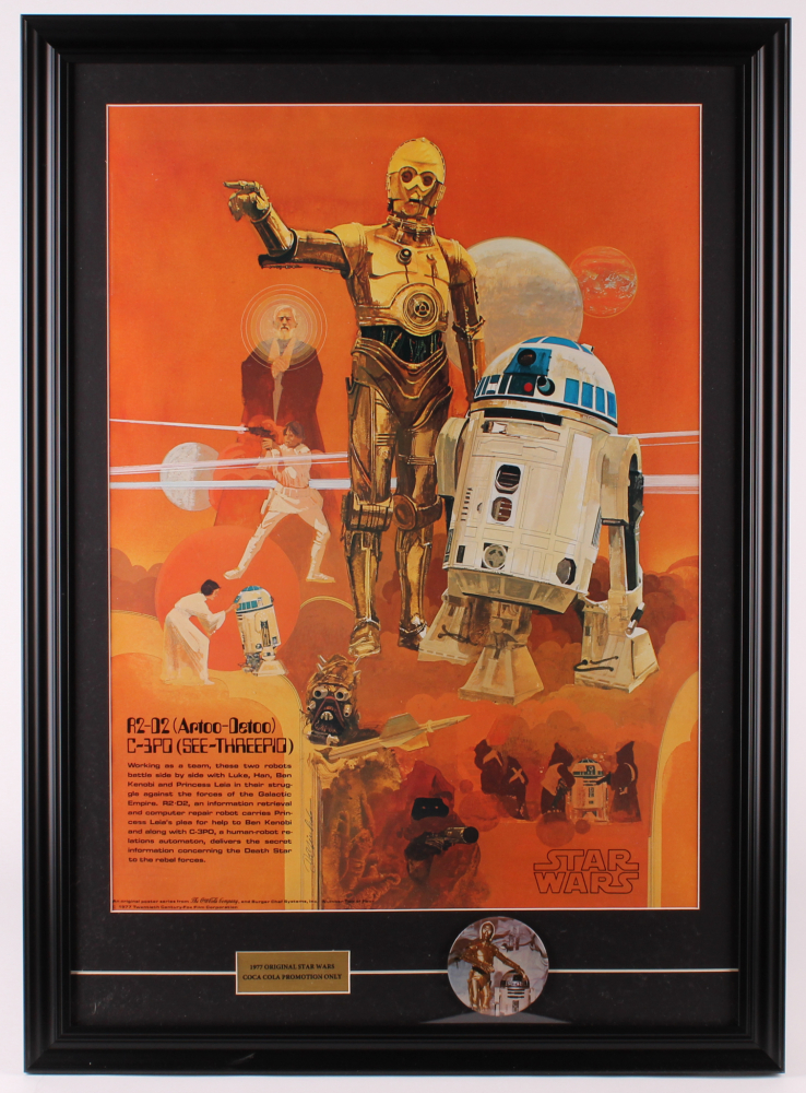 Vintage 1977 Coca Cola Star Wars 22.5x31 Custom Framed Poster Display with Vintage 1977 Star Wars Pin Back at PristineAuction.com