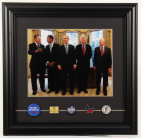 U.S. President Original Campaign Pins 14x14.5 Custom Framed Photo Display with Bill Clinton, Barack Obama, George W. Bush, George H.W. Bush, & Jimmy Carter at PristineAuction.com