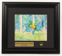 "LeRoy Neiman ""Jack Nicklaus Putting at Augusta National"" 13.5x15 Custom Framed Print Display with Official Masters Tournament Pin at PristineAuction.com"