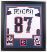 Rob Gronkowski Signed 31x35 Custom Framed Jersey (PSA COA) (Imperfect) at PristineAuction.com