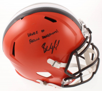 "Baker Mayfield Signed Browns Full-Size Speed Helmet Inscribed ""Woke Up Feelin Dangerous!"" (JSA COA) at PristineAuction.com"