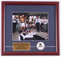 Muhammad Ali 14.75x15.75 Custom Framed Photo Display with 1960's Muhammad Ali Foundation Pin at PristineAuction.com
