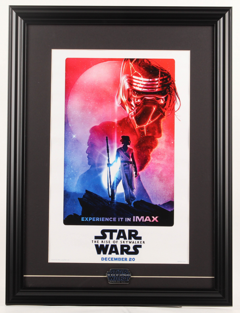 """""""Star Wars: The Rise of Skywalker"""" Imax 17.5x23.5 Custom Framed Poster Display with Star Wars Opening Night Only Pin at PristineAuction.com"""