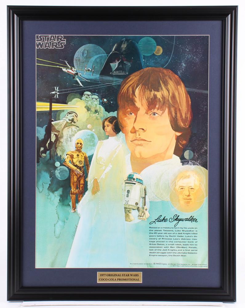 Vintage 1977 Coca Cola Star Wars 23x29.5 Custom Framed Poster Display at PristineAuction.com
