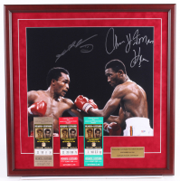 """Sugar Ray Leonard & Tommy """"Hitman"""" Hearns Signed 24x24 Custom Framed Photo Display with (3) Boxing Tickets (PSA COA) at PristineAuction.com"""