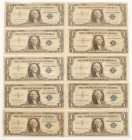 Lot of (10) 1935-57 U.S. $1 One Dollar Blue Seal Silver Certificate Notes with (3) 1935-E, (3) 1957, (2) 1957-A & (2) 1957-B at PristineAuction.com