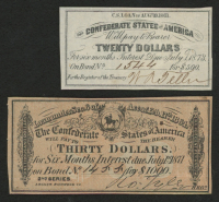Lot of (2) Confederate States of America Richmond CSA Bond Coupons with (1) 1864 $30 Thirty-Dollar Coupon & (1) 1861 $20 Twenty-Dollar Coupon at PristineAuction.com