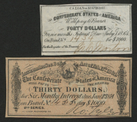 Lot of (2) Confederate States of America Richmond CSA Bond Coupons with (1) 1864 $30 Thirty-Dollar Coupon & (1) 1861 $40 Forty-Dollar Coupon at PristineAuction.com