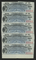 Uncut Sheet of (5) 1897 $17.50 Seventeen Dollars and Fifty Cents New York Central & Hudson River Railroad Company Bond Coupons at PristineAuction.com