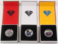 Lot of (3) 2015 Iconic Superman Comic Book Covers $20 Twenty Silver Dollar Coins at PristineAuction.com