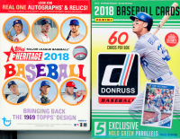 Lot of (2) Baseball Hanger Boxes with 2018 Topps Heritage & 2018 Panini Donruss at PristineAuction.com