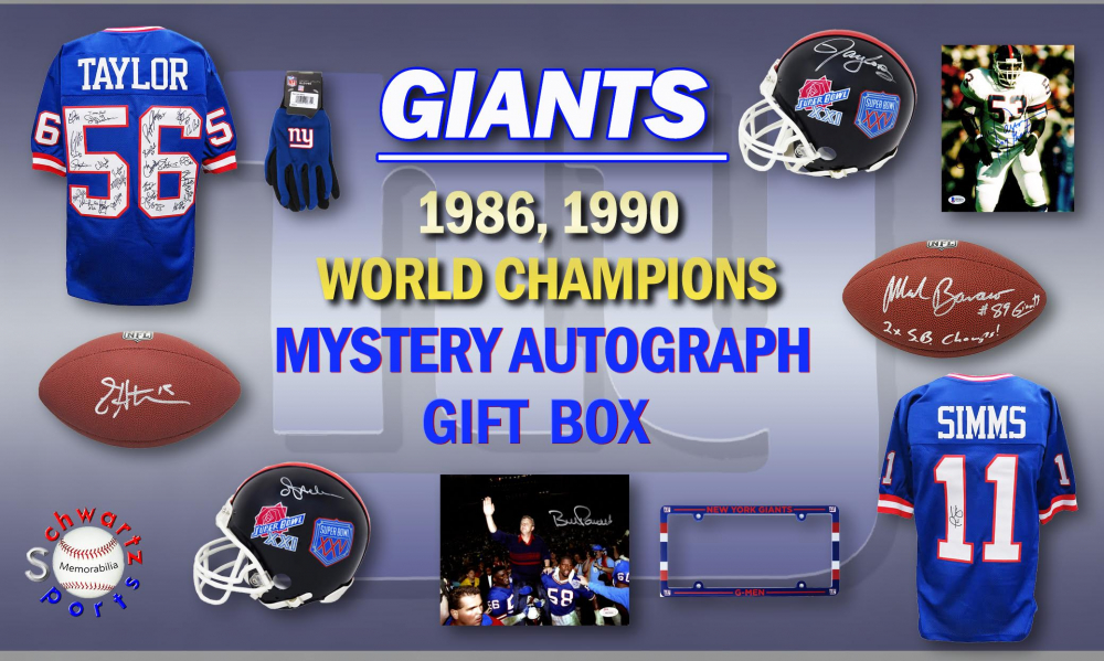Schwartz Sports 1986, 1990 New York Giants World Champs Mystery Autograph Gift Box - Series 3 (Limited to 156) **Grand Prize TEAM Signed Jersey** at PristineAuction.com
