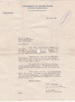 Knute Rockne Signed 1929 Notre Dame Fighting Irish Atheletic Association Letter (PSA LOA) at PristineAuction.com