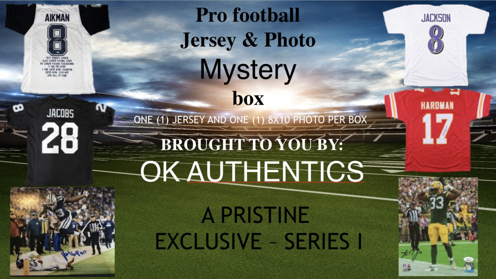 OKAUTHENTICS Pro Football Jersey and Photo Mystery Box - Series 1 at PristineAuction.com