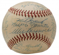 1953 Yankees Baseball Team-Signed by (25) with Mickey Mantle, Phil Rizzuto, Yogi Betta, Whitey Ford, Johnny Mize with Display Case (PSA LOA) at PristineAuction.com
