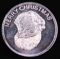 """1 Ounce .999 Fine Silver Golden State Mint """"Merry Christmas / Happy New Year"""" Bullion Round at PristineAuction.com"""