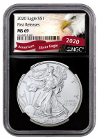 2020 American Silver Eagle $1 One Dollar Coin - First Releases, Black Core Holder (NGC MS69) - Eagle Label at PristineAuction.com