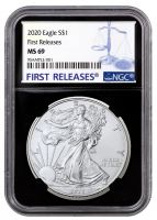 2020 American Silver Eagle $1 One Dollar Coin - First Releases, Black Core Holder (NGC MS69) at PristineAuction.com