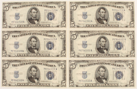 Lot of (6) 1934 $5 Five Dollar U.S. Federal Reserve Notes with Consecutive Serial Numbers at PristineAuction.com