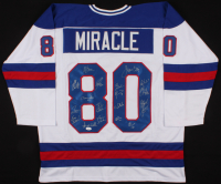 "1980 ""Miracle on Ice"" Hockey Jersey Team-Signed by (18) with Mike Eruzione, Jim Craig, Craig Patrick, Dave Silk (JSA COA) at PristineAuction.com"