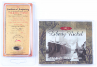 "Lot Of (2) Titanic Items With (1) 1912 ""Year of The Titanic"" Liberty Nickel & (1) Authentic Coal From Titanic Wreckage with Display Case (RMS Titanic COA) at PristineAuction.com"