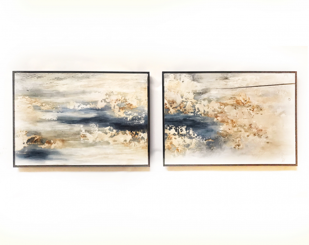 """Kobie Moore Signed """"In the Midst"""" 31x46 Pair of (2) Panel Mixed Media on Wood at PristineAuction.com"""