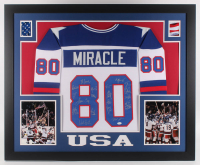 35x43 Custom Framed Jersey Signed By (19) with Mike Eruzione, Jim Craig, Ken Morrow, Mike Ramsey, Neal Broten (JSA Hologram) at PristineAuction.com