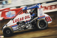 Kyle Larson Signed 2020 Chili Bowl 12x18 Photo (PA COA) (See Description) at PristineAuction.com