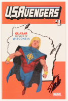 """Stan Lee Signed 2017 """"U.S.Avengers"""" Issue #1 Quasar Wisconsin State Variant Marvel Comic Book (JSA COA) at PristineAuction.com"""