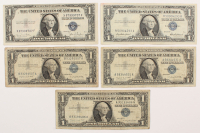 Lot of (5) 1935-1957 U.S. $1 One Dollar Blue Seal Silver Certificate Notes at PristineAuction.com