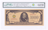 "1934 $1,000 One Thousand Dollars ""Smithsonian Edition"" Gold Certificate (PMG Gem Uncirculated) at PristineAuction.com"