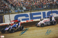 Kyle Larson & Christopher Bell Signed 2020 Chili Bowl 12x17 Photo (PA COA) (See Description) at PristineAuction.com