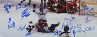 """1980 Team USA """"Miracle on Ice"""" 22x27 Custom Framed Photo Team-Signed by (14) with Jim Craig, Mike Eruzione, Bill Baker, Dave Christain (JSA COA) at PristineAuction.com"""