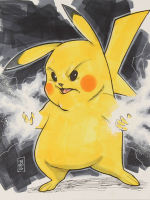 "Tom Hodges - Pikachu - ""Pokemon"" - Signed ORIGINAL 8.5"" x 11"" Drawing on Paper (1/1) at PristineAuction.com"