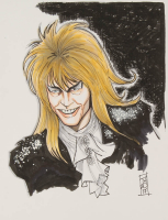 "Tom Hodges - David Bowie as Jareth - ""Labyrinth"" - Signed ORIGINAL 8.5"" x 11"" Drawing on Paper (1/1) at PristineAuction.com"