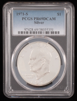 "1971-S Eisenhower ""Ike"" $1 Dollar Coin (PCGS PR69 DCAM) at PristineAuction.com"