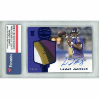 Lamar Jackson 2018 Panini Plates and Patches Blue #236 (Fanatics Encapsulated) at PristineAuction.com