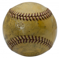 1942 War Bond Effort Exhibition Game ONL Baseball with High Quality Display Case Signed by (8) with Babe Ruth, Honus Wagner, Walter Johnson, Tris Speaker, George Sisler, Duffy Lewis, Eddie Collins & Red Murray (JSA LOA) at PristineAuction.com