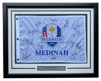 2012 Ryder Cup Pin Flag 21x27 Custom Framed Display Signed by (13) with Tiger Woods, Phil Mickelson, Jim Furyk, Bubba Watson, Webb Simpson, Matt Kuchar, Steve Stricker, Brandt Snedeker (Beckett LOA) at PristineAuction.com