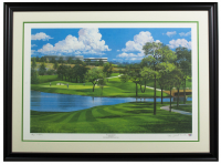 "Byron Nelson & Jack Ferrell Signed LE ""TPC Las Colinas 14th Hole"" 29x38 Custom Framed Lithograph Display (PSA COA) at PristineAuction.com"