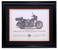 "Harley Davidson ""The 1978 FLH Anniversary Edition"" 23x27 Custom Framed Print Display at PristineAuction.com"