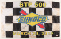 Denny Hamlin Signed Race-Used 2015 - Martinsville - STP 500 Sunoco NASCAR 21x34 Victory Lane Checkered Flag (PA COA) at PristineAuction.com