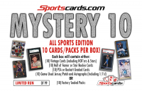 "Sportscards.com ""Mystery 10"" All-Sports Card Box! 10 Cards/Packs Per Box at PristineAuction.com"