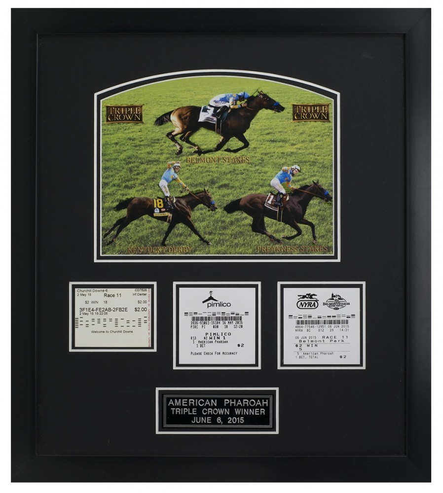 """American Pharaoh """"Triple Crown"""" 12x18 Custom Framed Ticket Collage Display at PristineAuction.com"""