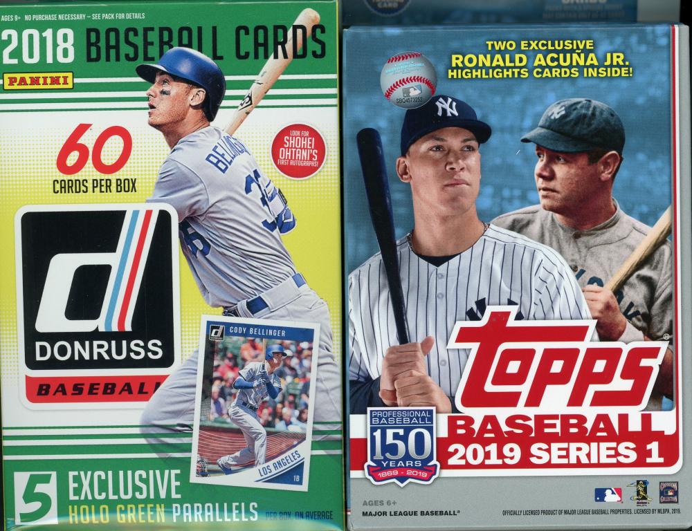 (2 BOX LOT) 2019 Panini Donruss Baseball & 2019 Topps Series 1 Baseball Hanger Boxes at PristineAuction.com