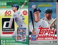 (2 BOX LOT) 2019 Panini Donruss Baseball & 2019 Topps Series 1 Baseball Hanger Boxes at PristineAuction.com
